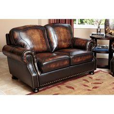 Sienna Brown Top Grain Leather Loveseat