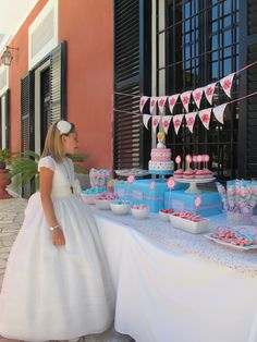 Communion Party Table for girls- I love the pink and bright blue colors