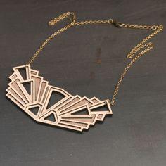 Wooden Statement Necklace, Laser Cut Wood Necklace - Diamonds Are Evil