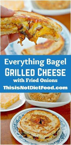 Everything Bagel Grilled Cheese with Fried Onions. Everything Bagel Grilled Cheese with Fried Onions. Lunch Recipes, Diet Recipes, Breakfast Recipes, Cooking Recipes, Breakfast Options, Grill Sandwich, Bagel Sandwich, Sandwich Ideas, Sandwich Recipes