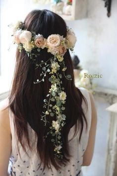 flowers wedding long loose hair roses green pink