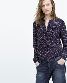 ZARA - POLKA DOT FRILLED BLOUSE. Because you KNOW how much I love a ruffle.
