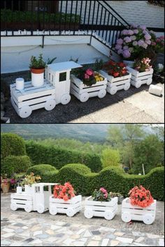 Transform old crates into a train planter! Do you want one for your garden?
