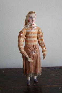 Antique German Rare Christmas Ornament Spun Cotton Woman Crepe Paper Dress 1900