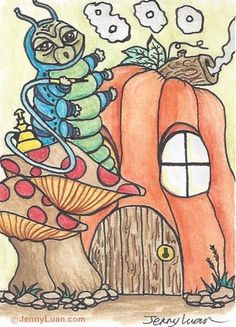 """ACEO Original Halloween pumpkin, smoking caterpillar drawing - """"BOO!"""" by Jenny"""