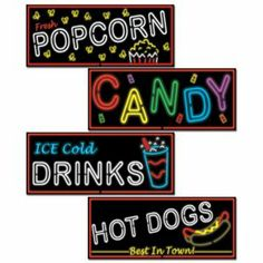 Neon Food Sign Cutouts  - Hollywood Party Ideas