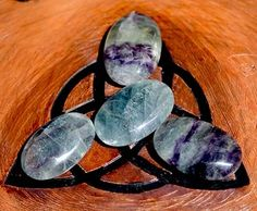 Fluorite Palm Worry Stone - pagan wiccan witchcraft magick ritual supplies