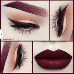Amazing deep purple red lips, liner, and brows