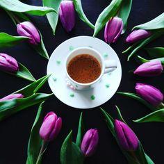 Coffee and tulip #coffee #season #spring #tulip #espresso
