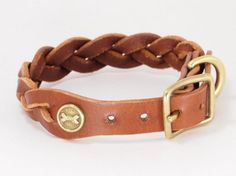 Leather dog collar braided all brass metal by SunGoddessCollars, $82.00
