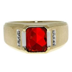 Diamond and Emerald Cut Ruby Gemstone Men's Ring In Yellow Gold Gemologica.com offers a unique selection of mens gemstone and birthstone rings crafted in sterling silver and 10K, 14K and 18K yellow, white and rose gold. We have cool styles including wedding and engagement rings, fashion rings, designer rings, simple stone and promise rings. Our complete jewelry collection of gemstone rings for men can be seen here: www.gemologica.com/mens-gemstone-rings-c-28_46_64.html