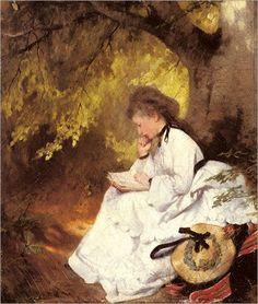 An Elegant Lady Reading Under a Tree, Karl Raupp - #ARTEmisiaLegge - @Libriamo Tutti - http://www.libriamotutti.it/