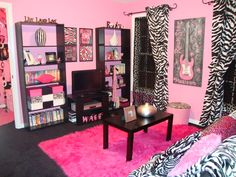 hot pink and zebra bedroom ideas -