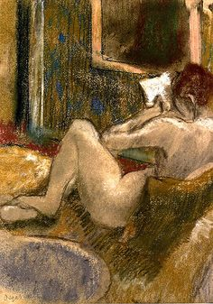 Degas, Edgar (French, 1834-1917) - Nude from the Rear, Reading - 1880-85