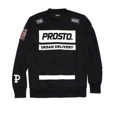 """Bluza bez kaptura DELIVERY 100 BLACK Męska bluza wykonana z najlepszej jakości bawełny. Z przodu duży nadruk z logo Prosto. Na rękawach kolekcyjne naszywki oraz litera 'P"""". Motorcycle Jacket, Logo, Sweatshirts, Sweaters, Jackets, Fashion, Down Jackets, Moda, Logos"""