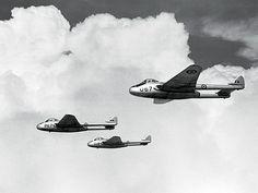 100 Vampire RCAF trio in flight