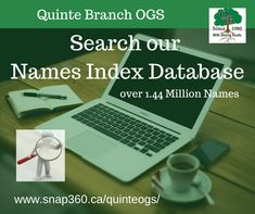 Search our database. Over 1.44 million names indexed from multiple sources. You may find a clue to break down your brick wall! #QuinteOGS #genealogy #familyhistory Local History, Family History, Location Finder, Pedigree Chart, Funeral Cards, Transcription, First Names, Research, Genealogy