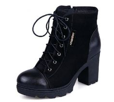 2014 Women's Fashion Suede Leather Handmade Thick Lace Up Zipper Strap Sexy OL High Heels Wedge Winter Warm Shoes Ankle Martin Boots Black