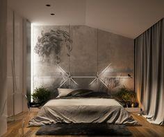 Monochromes Schlafzimmer mit attraktivem Lampen Design