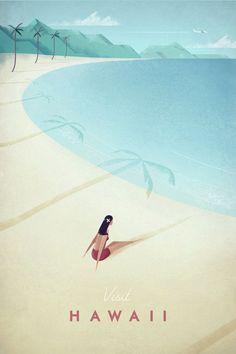 Vintage Hawaii Travel Poster - Art Print - Illustration by Henry Rivers