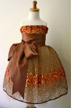 Copper Constellation Flower Girl Dress- Chocolate Brown Sash Example    perfect for a fall wedding
