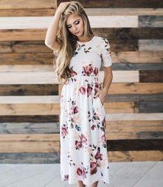 Short sleeved print flower dress