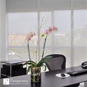 Panel Japonés Blinds, Glass Vase, Home Decor, Laminate Flooring, Large Windows, Decoration Home, Room Decor, Shades Blinds, Blind