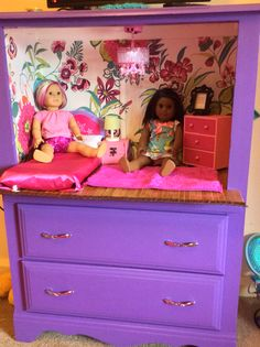 "Old dresser up cycled into perfect doll room with storage underneath. Perfect for American girl dolls or other 18"" dolls"