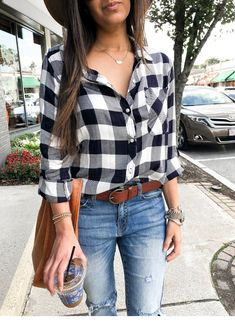Classic Black and White Plaid - Olive & Rose Classic Black and White Plaid - Olive & Rose Plaid Shirt: VICI (super similar HERE) Checkered Shirt Outfit, Plaid Shirt Outfits, Black Plaid Shirt, White Plaid, Fall Outfits, Cute Outfits, Fashion Outfits, Flannel Shirts, Women's Fashion