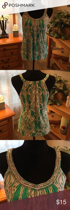 Inc. international concepts adorable tank Inc. international concepts and adorable green and white tank with beading size large INC Tops Tank Tops