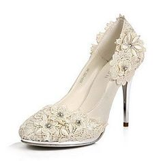 Elegant Satin Stiletto Heel Pumps, Closed Toe With Flower Wedding Shoes