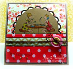 Card I made using Uptown Girls Chelsea and Lauren from Stamping Bella