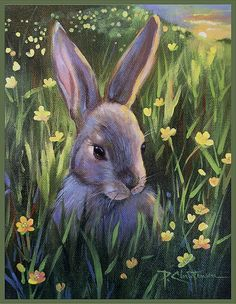 Wild Bunny Rabbit Spring Yellow Buttercups by PChristensenGallery