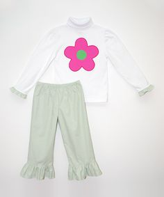 Love this White Floral Tee & Green Gingham Pants - Infant, Toddler & Girls by Monday's Child on #zulily! #zulilyfinds