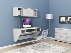 Furniture,Cool Wall Mounted Floating Computer Desk With White Storage On It And Cantilever Chair In Modern Living Space,Effective Design For...
