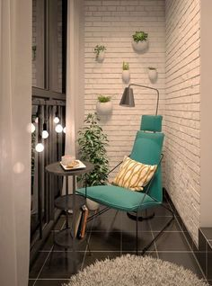 #MaximiseASmallNook with planters and string lights.