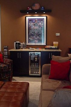 """DIY Media Room Home Theater Snack Bar - The snack bar is 2 IKEA kitchen cabinets and a 15"""" beverage cooler"""