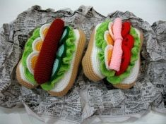Crochet Pattern - HOTDOGS- Toys / Playfood - PDF  (00458)