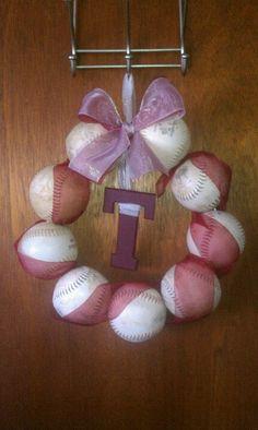 School pride softball wreath