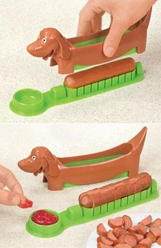 One of the silliest gadgets I have seen! Hot dog slicer and server! #product_design