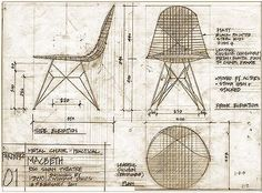 Technical Drawing of wire chair. En die hebben we New Furniture, Furniture Design, Bertoia, Industrial Office Chairs, Chair Drawing, Wire Chair, Charles Eames, Chair Makeover, Technical Drawing