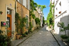 The Rue des Thermopyles is so-named because the street is as narrow as the pass where the legendary battle of Thermopylae was fought in 480 B.C. The cobblestoned, plant-filled, cat-friendly Rue des Thermopyles, off the busy Rue Raymond Losserand in Paris's 14th arrondissement, is home to a number of artists and has an active neighborhood association.