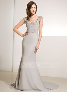 Trumpet/Mermaid V-neck Court Train Chiffon Tulle Mother of the Bride Dress With Ruffle Lace Beading (008014219) - JJsHouse