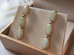 Lovely 14K Yellow Gold Opal Drop Earrings Fine, Shop Rubylane.com