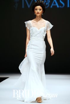 Brides.com: . Trend: Flouncy Sleeves. Silk chiffon mermaid wedding dress with a sweetheart neckline and flounce cap sleeves, Ivy & Aster