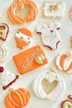 If youre celebrating a pumpkin baby shower then you wont want to miss these gorgeous pumpkin themed baby shower cookies. See more party ideas and share yours at CatchMyParty.com #catchmyparty #partyideas #pumpkin #pumpkinparty #pumpkin1stbirthdayparty #fall #fallparty #pumpkincookies
