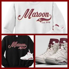 COP EM CUSTOMS CREWNECK SWEATER SWEATSHIRT TO MATCH NIKE AIR JORDAN 6  MAROON S! 0a1a6202a