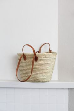 Market Basket with Leather Double Handle