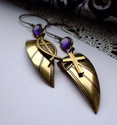 Gothic Angel Wing Earrings Dangles Crosses by 13Alternatives, £17.00