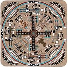 "Navajo Sand paintings, also called dry paintings, are called ""places where the gods come and go"" in the Navajo language. They are used in curing ceremonies in which the gods' help is requested for harvests and healing. The figures that are used in Navajo sand paintings are symbolic representations of a story in Navajo mythology. They depict objects like the sacred mountains where the gods live, or legendary visions, or the illustrate dances or chants performed in rituals..."
